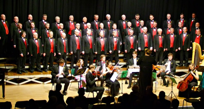 Froncysylite Male Voice choir perform with Bridgnorth Schools Ensemble